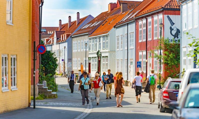 Vecchia vista della città di Trondeim La Norvegia, Scandinavia, Europa immagine stock