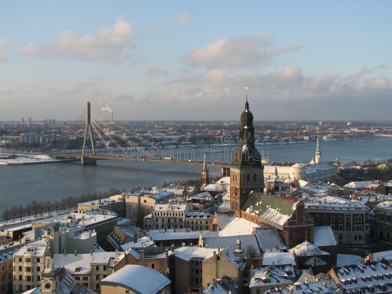 Vecchia vista della città, Riga fotografia stock libera da diritti