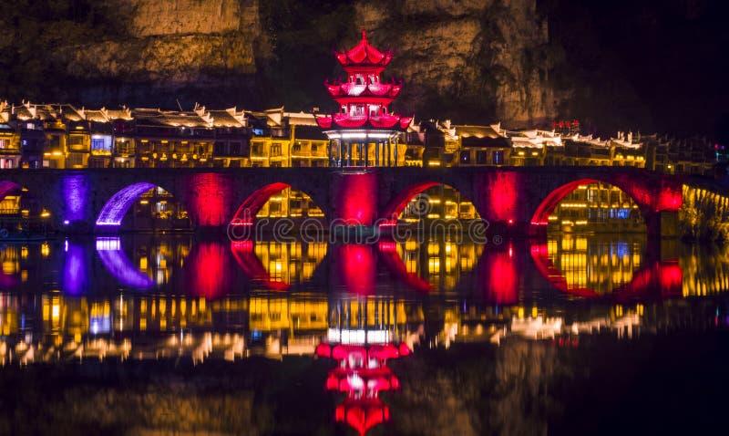 Vecchia vista 21 di notte della città di Zhenyuan fotografie stock