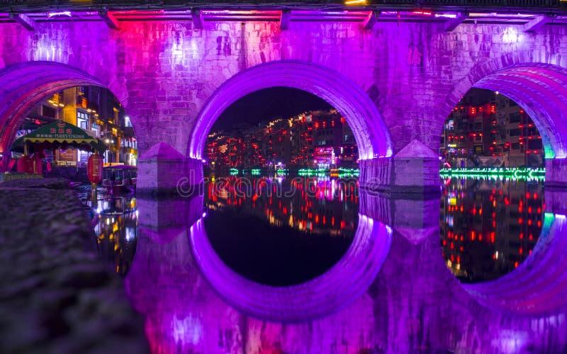 Vecchia vista 26 di notte della città di Zhenyuan immagine stock libera da diritti