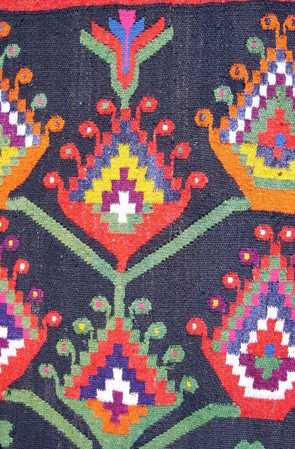 Vecchia vista ornamentale tradizionale del primo piano del tappeto fotografia stock