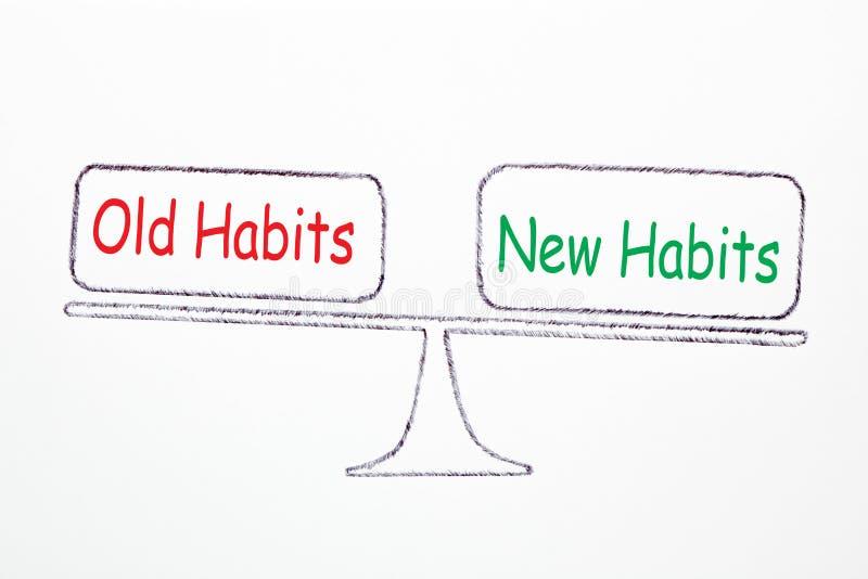 Vecchie abitudini e nuove abitudini illustrazione vettoriale