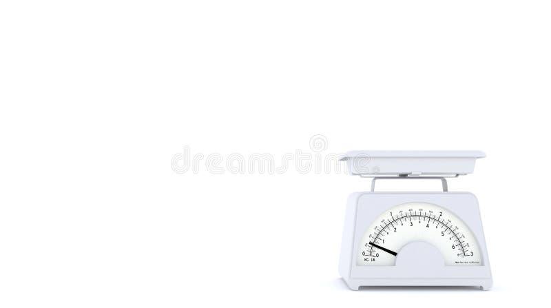Vecchie bilancie bianche della cucina su fondo bianco con spazio libero per testo o il logo Copi lo spazio rappresentazione 3d royalty illustrazione gratis