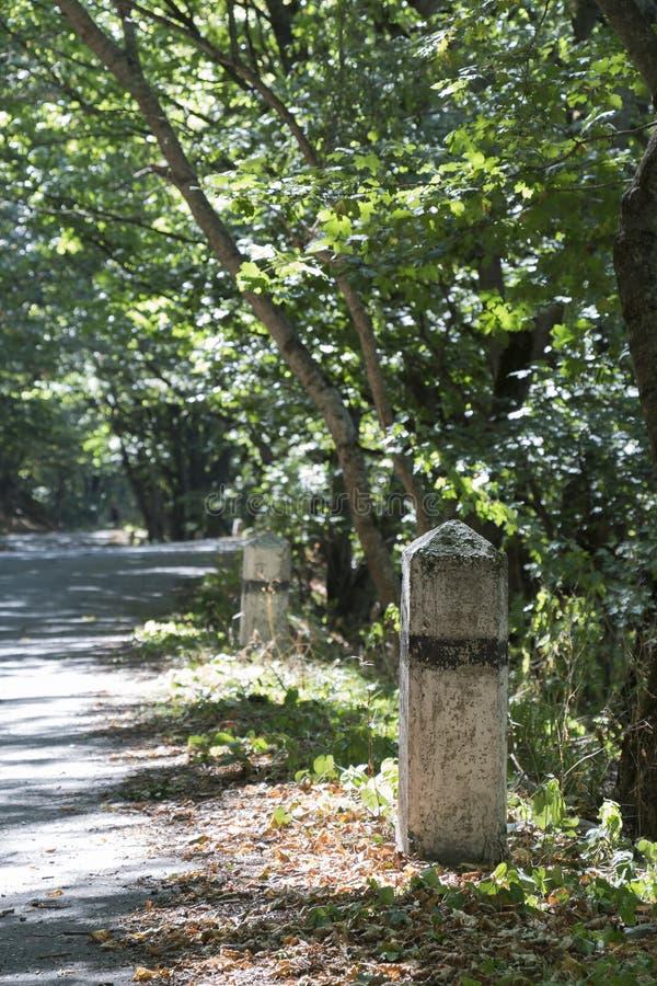 Vecchie bitte concrete sulla vecchia strada asfaltata immagini stock libere da diritti