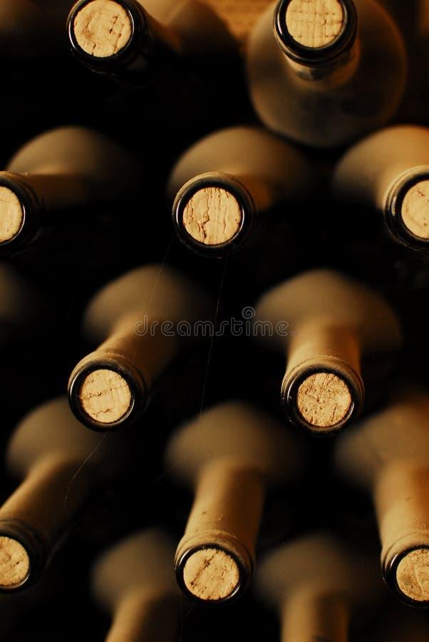Vecchie bottiglie di vino fotografia stock libera da diritti