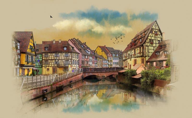 Vecchie case di Europa Panorama della città di Colmar, Francia illustrazione vettoriale