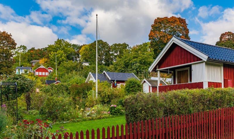 Vecchie case tradizionali a Stoccolma Svezia immagine stock