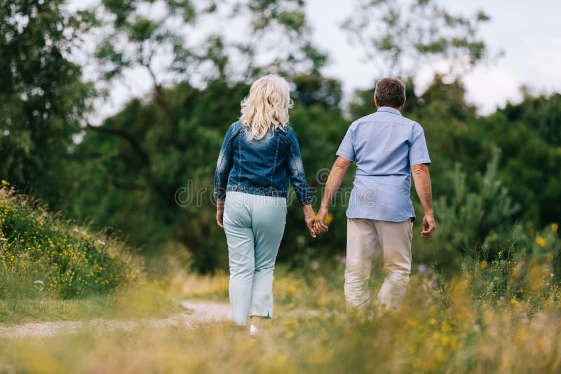 Vecchie coppie che si tengono per mano su una passeggiata fotografia stock libera da diritti