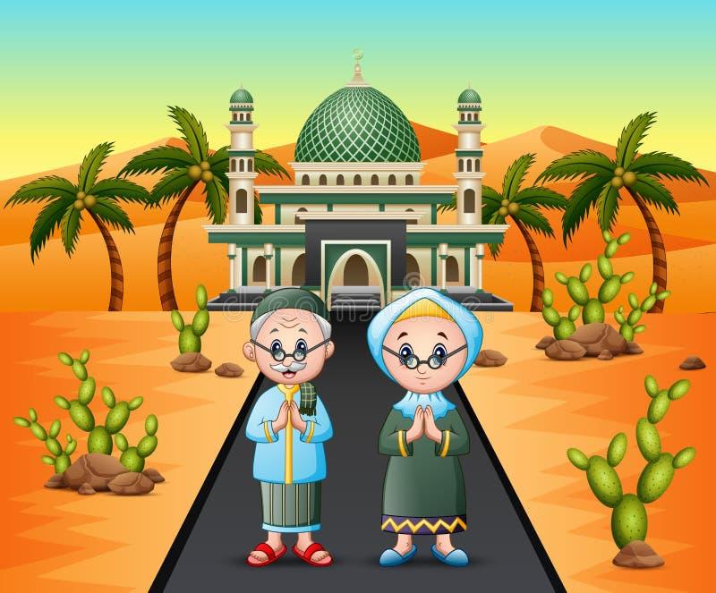 Vecchie coppie musulmane davanti alla moschea sul fondo del deserto illustrazione vettoriale