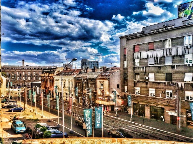 Vecchie costruzioni a Belgrado fotografia stock