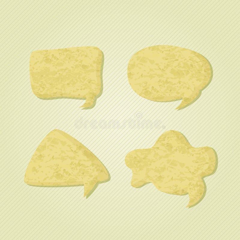 Vecchie icone di carta della bolla di discorso di chiacchierata illustrazione di stock