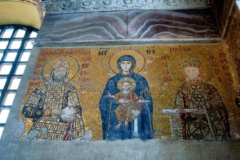 Vecchie icone sulla parete nel tempio di Al Sofia a Costantinopoli immagine stock