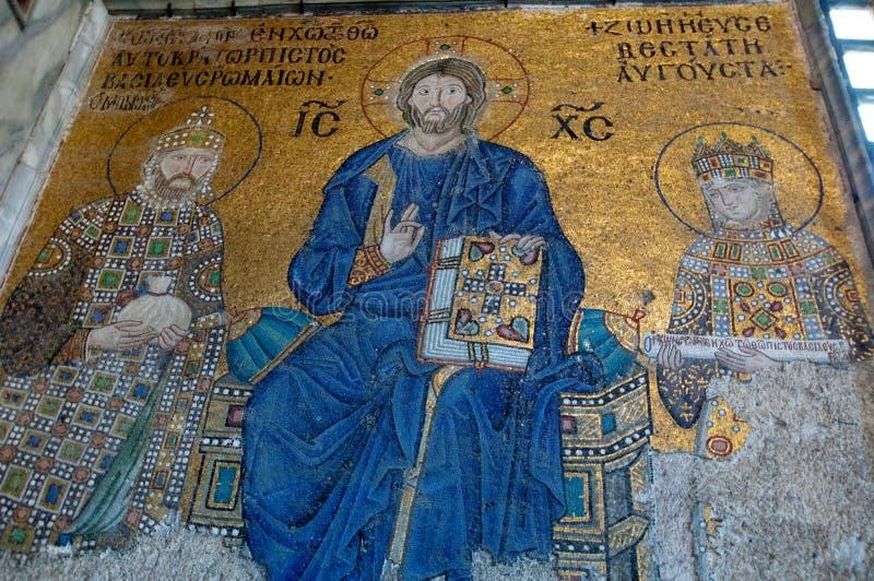Vecchie icone sulla parete nel tempio di Al Sofia a Costantinopoli immagine stock libera da diritti