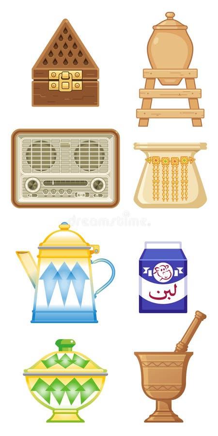 Vecchie icone tradizionali di eredità nei paesi arabi del golfo illustrazione di stock