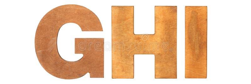 Vecchie lettere di legno GHI immagini stock libere da diritti