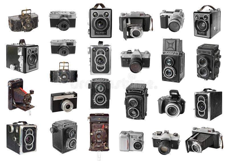 Vecchie macchine fotografiche della foto immagine stock