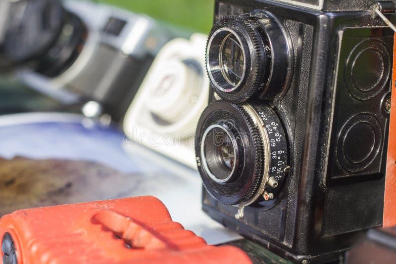 Vecchie macchine fotografiche della foto immagini stock