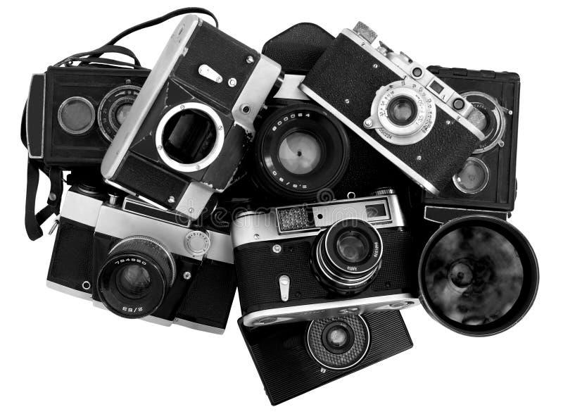 Vecchie macchine fotografiche della foto fotografia stock