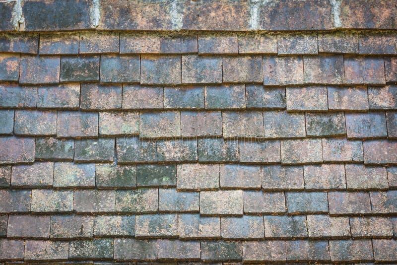 Vecchie mattonelle di tetto tradizionali del primo piano da argilla al forno fotografia stock libera da diritti