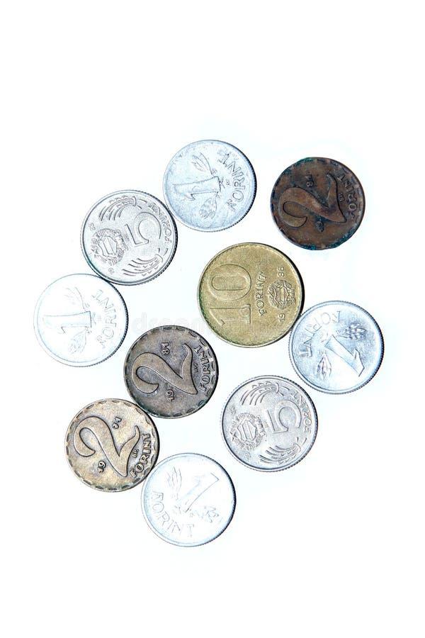 Vecchie, monete invalide dall'Ungheria fotografia stock