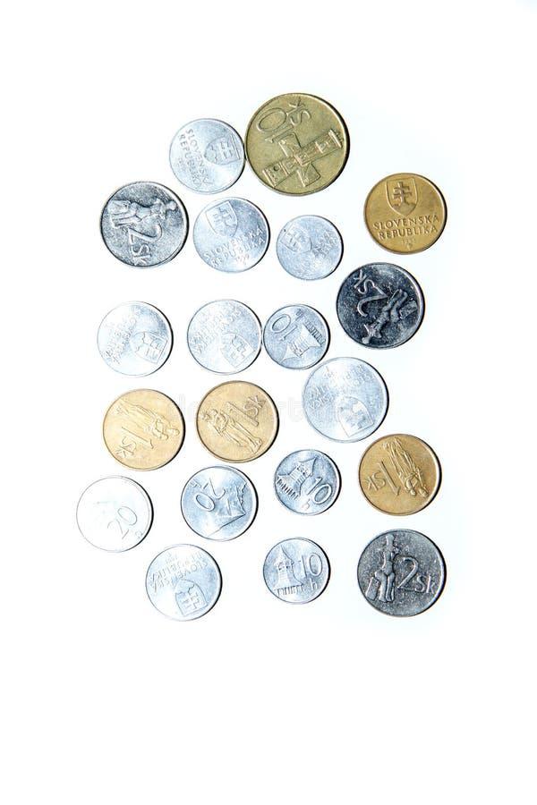 Vecchie, monete invalide dalla Slovacchia immagini stock