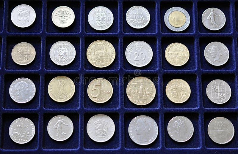 Vecchie monete numismatiche fotografie stock
