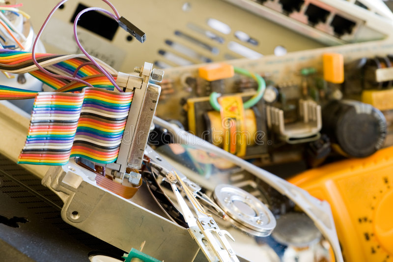 Vecchie parti del calcolatore fotografie stock