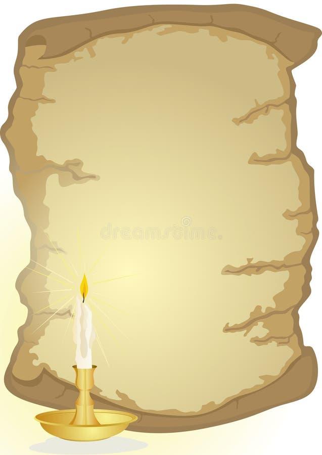 Vecchie pergamena e candela illustrazione di stock