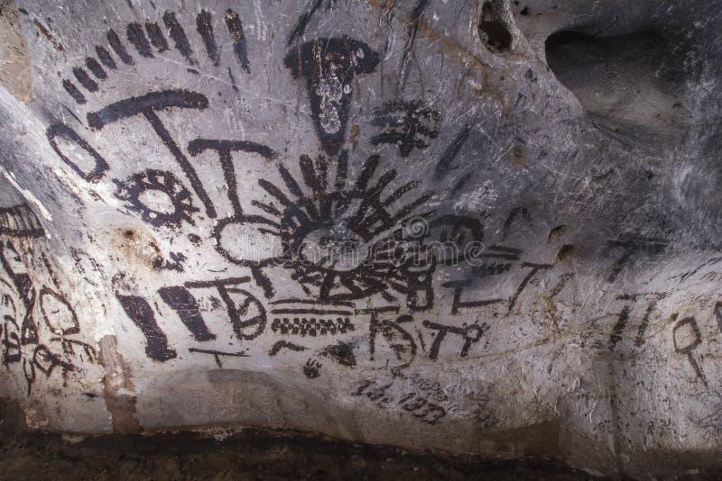 Vecchie pitture di caverna fotografie stock libere da diritti