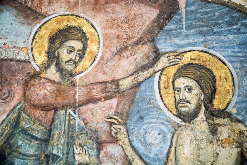 Vecchie pitture rumene della chiesa ortodossa con i san immagini stock libere da diritti