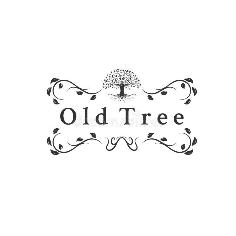 Vecchie progettazioni di logo degli alberi illustrazione di stock