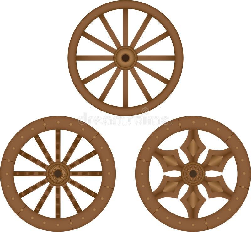 Vecchie rotelle di legno illustrazione di stock