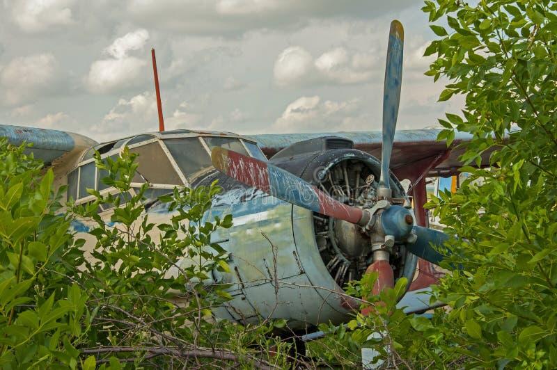 Vecchie rovine abbandonate dell'aereo in una vista della cabina di pilotaggio della foresta fotografia stock