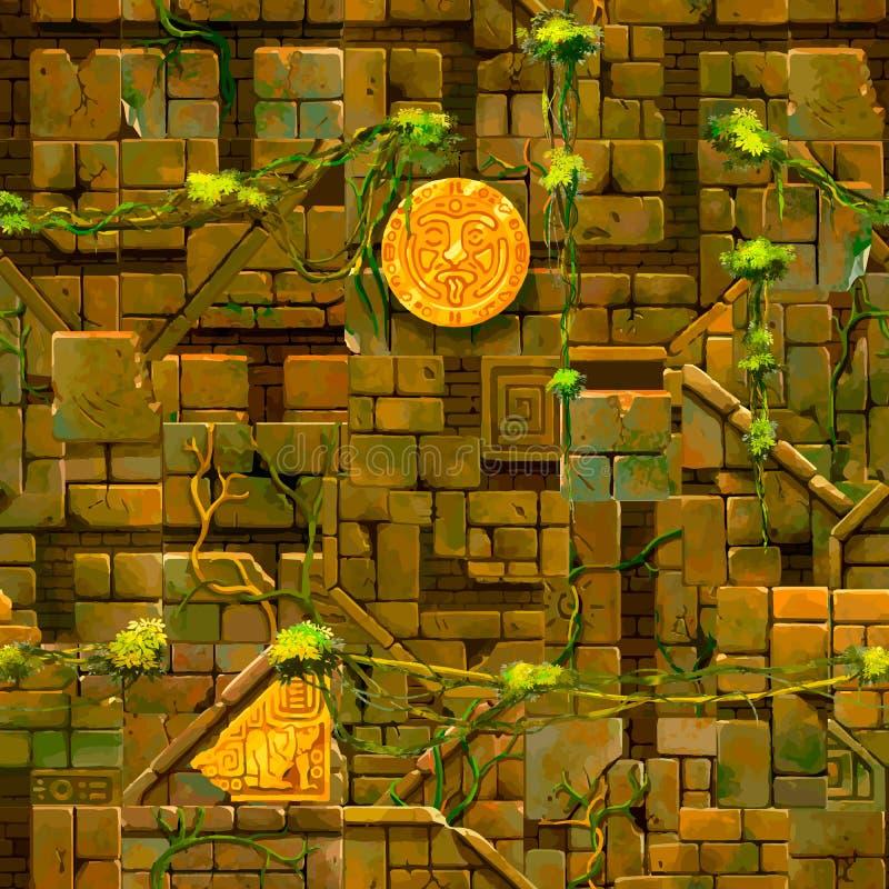 Vecchie rovine antiche con le viti lushy, modello senza cuciture illustrazione vettoriale