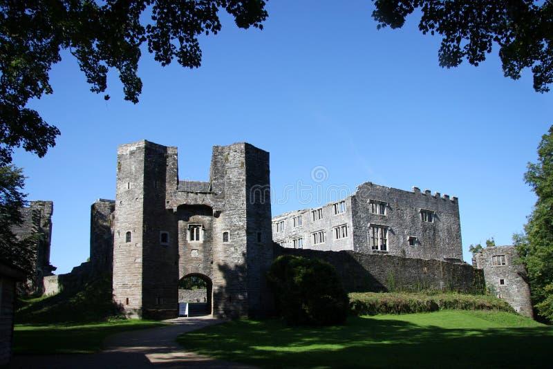 Vecchie rovine del castello, bacca Pomeroy, Totnes, Regno Unito fotografia stock
