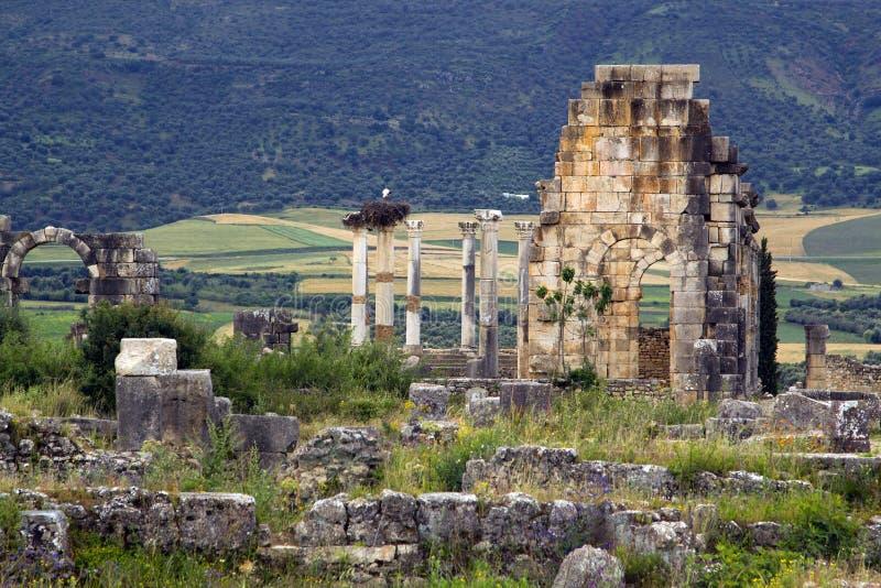 Vecchie rovine dell'entrata romana della città, Volubilis immagine stock libera da diritti