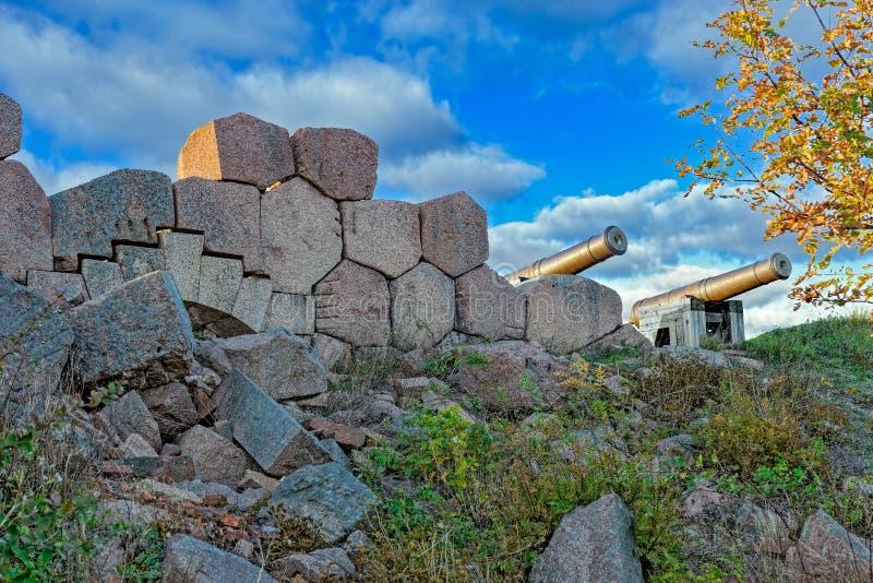 Vecchie rovine della fortezza, Bomarsund, isole di Aland, Finlandia immagine stock libera da diritti