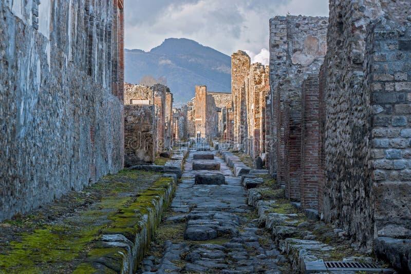 Vecchie rovine a Pompei Italia fotografia stock