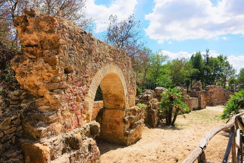Vecchie rovine romane in villa Romana del Casale Piazza Armerina immagini stock