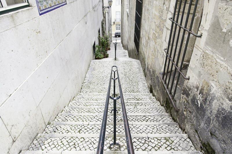 Vecchie scale a Lisbona fotografia stock libera da diritti