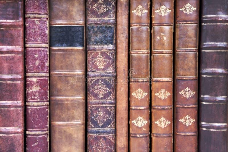 Vecchie spine dorsali di cuoio del libro rilegato immagini stock libere da diritti