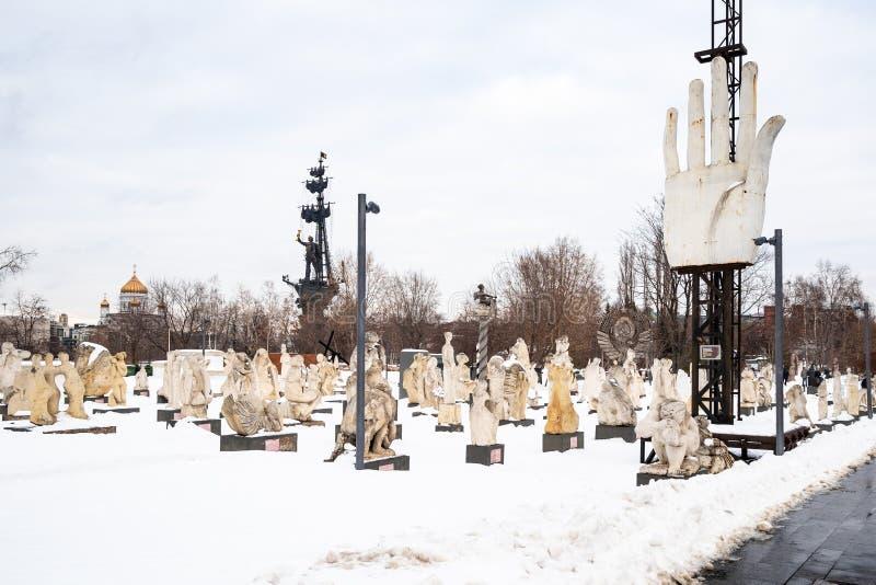 Vecchie statue nel parco di Muzeon delle arti a Mosca fotografia stock libera da diritti