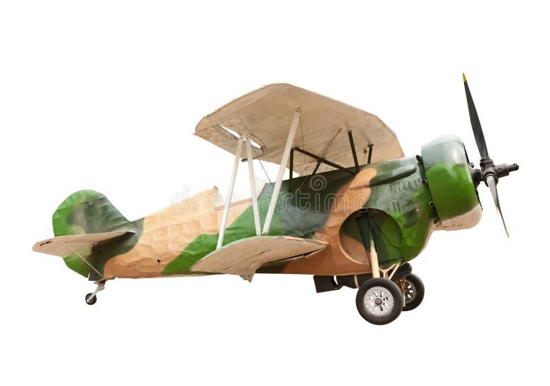 Vecchio aereo all'isolato del museo su bianco immagine stock