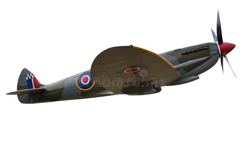 Vecchio aereo di elica del combattente isolato su bianco fotografia stock libera da diritti