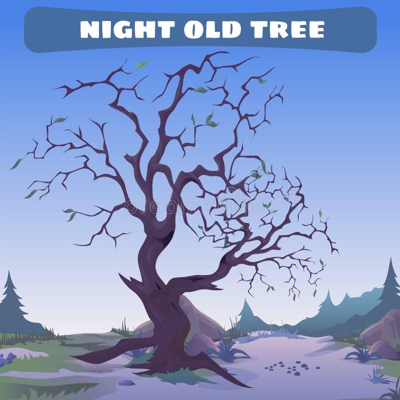 Vecchio albero morto alla notte illustrazione vettoriale