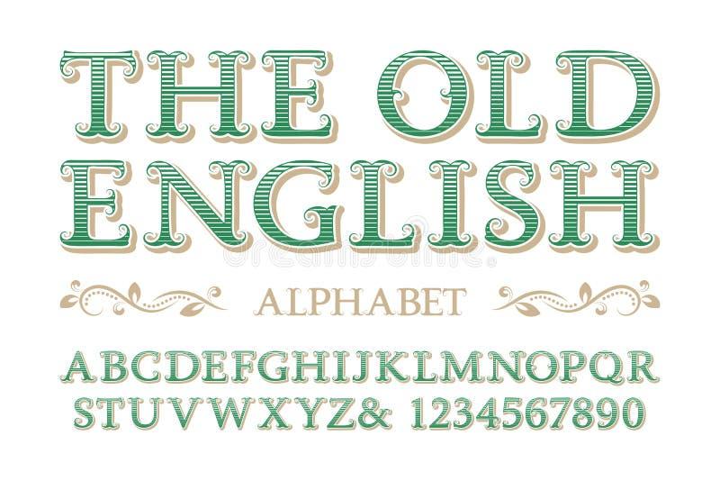 Vecchio alfabeto inglese con i numeri nello stile d'annata royalty illustrazione gratis