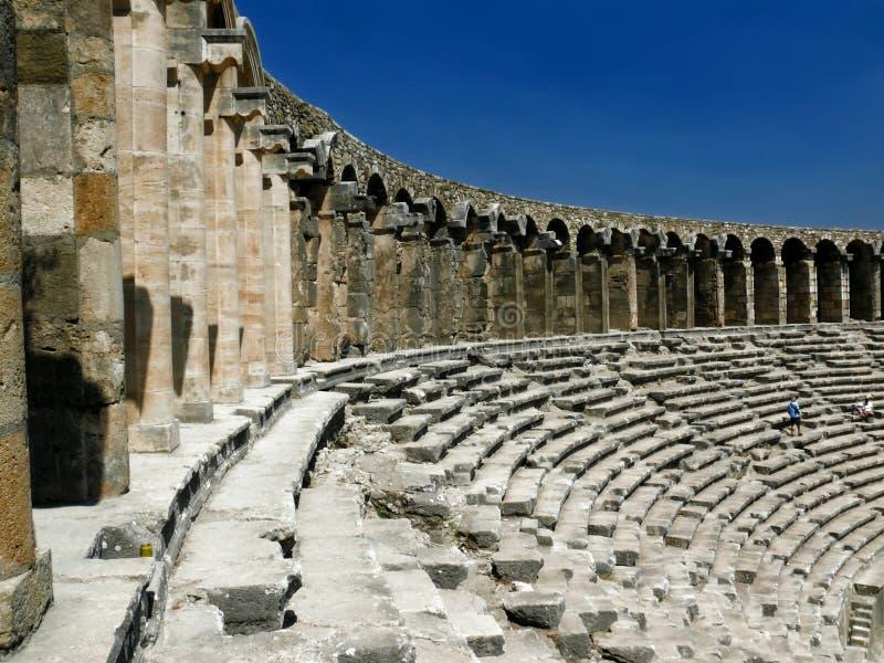 Vecchio amphitheater greco Aspendos immagini stock libere da diritti