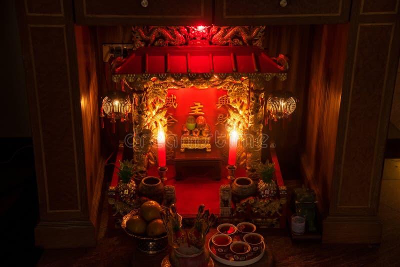 Vecchio antico, corte di Zhu Zhi Shrine Chinese Il cinese inglese di traduzione è Angel House thailand fotografie stock