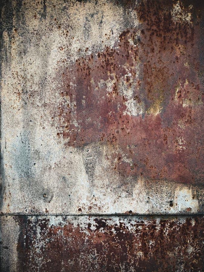 Vecchio arrugginimento con la pelatura del fondo in bianco del progettista del metallo della pittura immagine stock