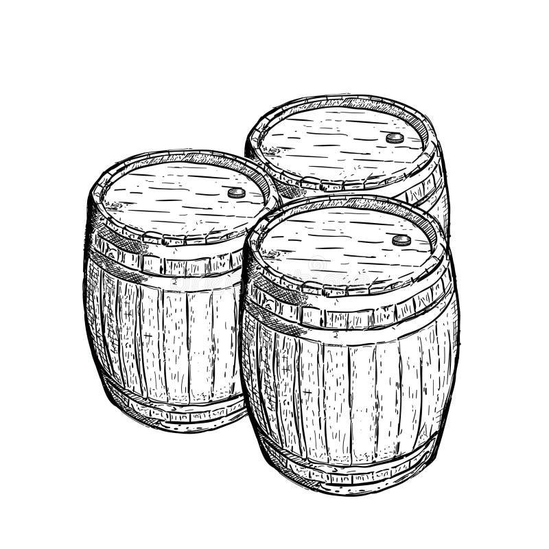 Vecchio barilotto di birra del vino dell'incisione illustrazione di stock